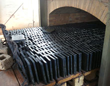 cast basalt tile out of kiln